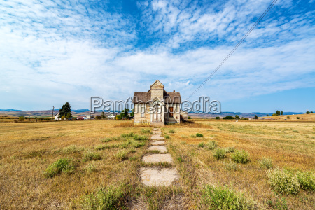 Wide Angle View of Abandoned House - Royalty free image