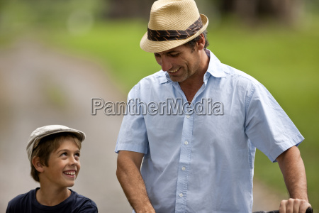 middle aged man walking with his