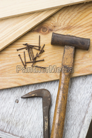 wooden boards and carpenters tools