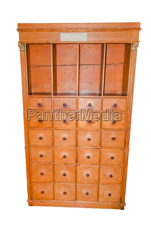 old antique pharmacist cabinet