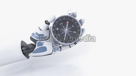robot hand holding compass