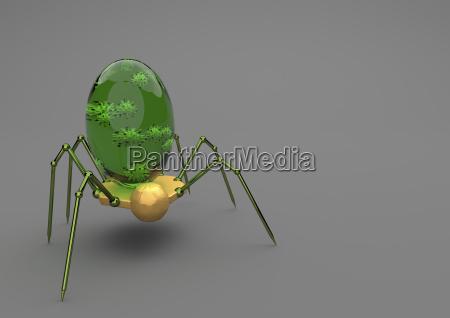 nanobot with virus on grey background