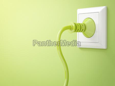 3d rendering green plug in socket