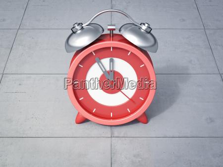 3d rendering red alarm clock five