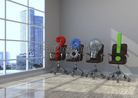 3d illustration planning concept swivel chairs