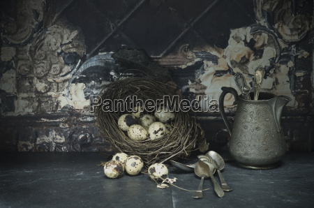 easter nest of quail eggs silver
