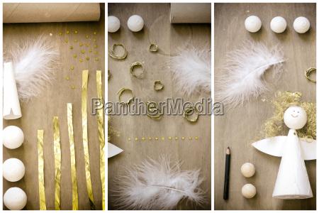 christmas decoration angel flat lay