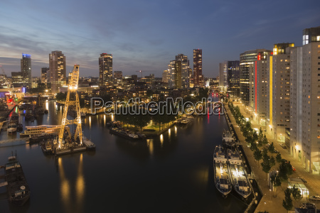 netherlands rotterdam harbour with crane in
