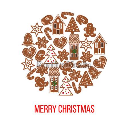 christmas gingerbread figures on bauble shape