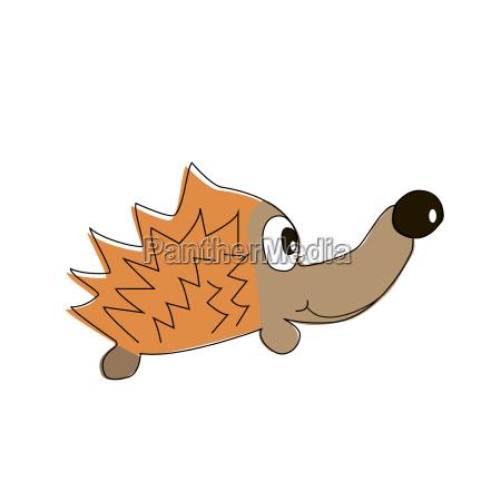 childish illustration of hedgehog