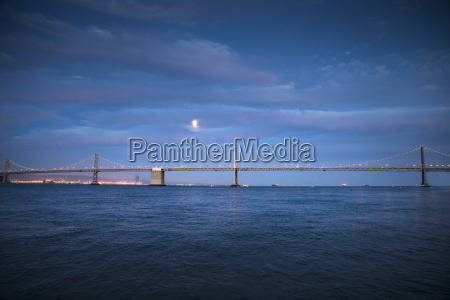 usa california bay bridge blue hour