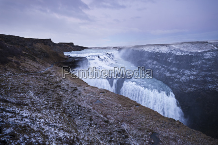 iceland gullfoss waterfall at dusk
