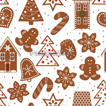 gingerbread figures seamless pattern vector