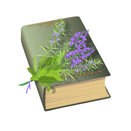 old book with bunch of flowers