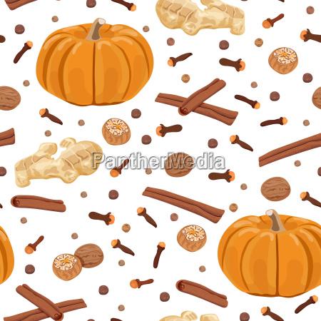 pumpkin spice seamless pattern vector set