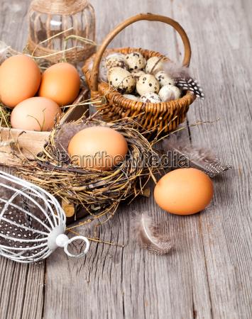 easter nest on wood background