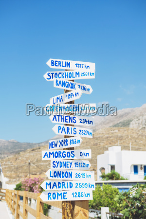 greece amorgos sign posts cities and