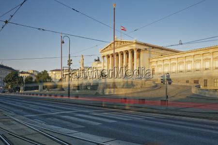 austria vienna austrian parliament light trail