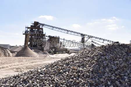 stones and sand in gravel pit