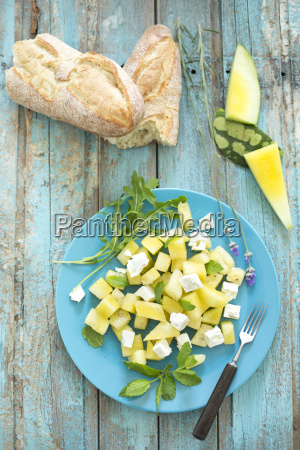 melon salad yellow watermelon feta mint