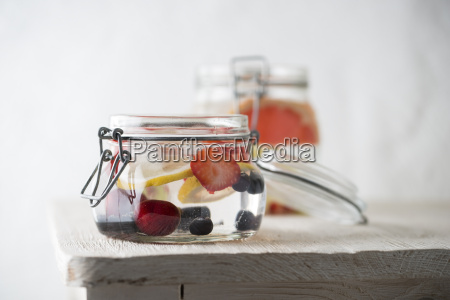 preserving jar of cooled water flavoured