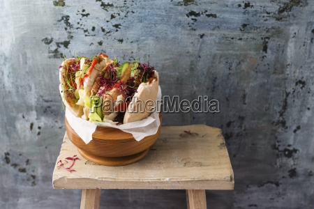 pita bread filled with salad cucumber