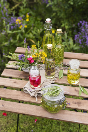 different herb oils thyme rose lavender