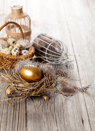 golden egg in the nest on