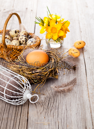 easter decoration on wooden background