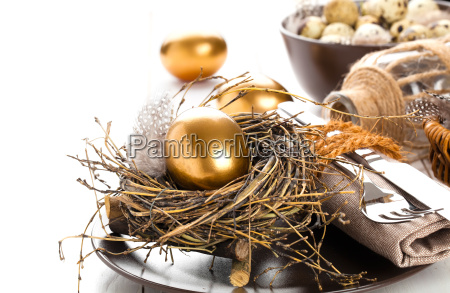 table decoration with golden egg