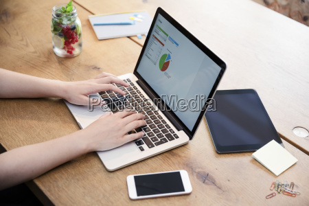 woman at desk using laptop working