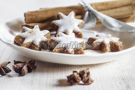 home baked christmas cookies cinnamon stars