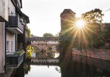 germany nuremberg view to pegnitz river