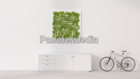 sideboard bicycle and living wall 3d