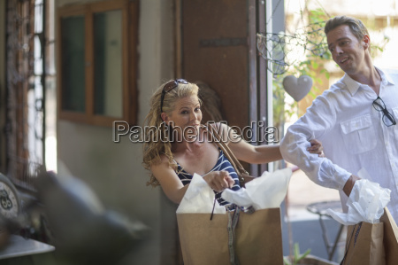 couple shopping together in vintage store