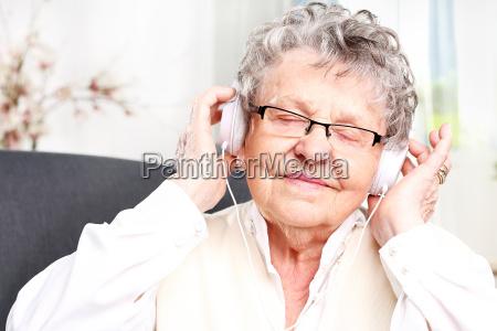 grandma listens to music