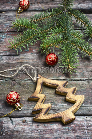 christmas festive background with fir tree