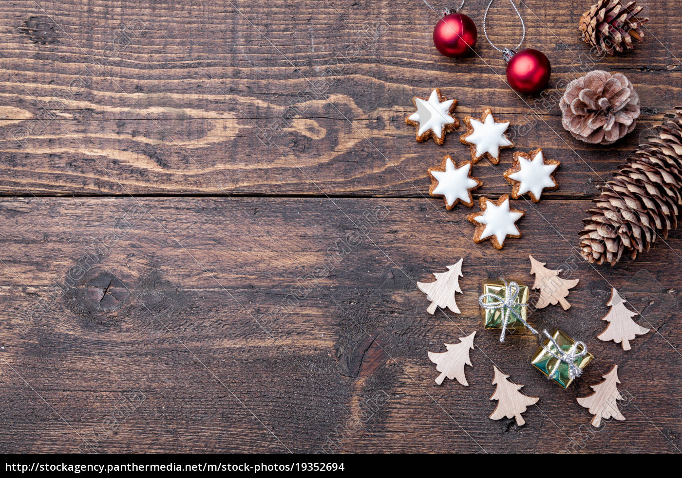 Royalty Free Image 19352694 Christmas Decoration On Wooden Background With Copy Space