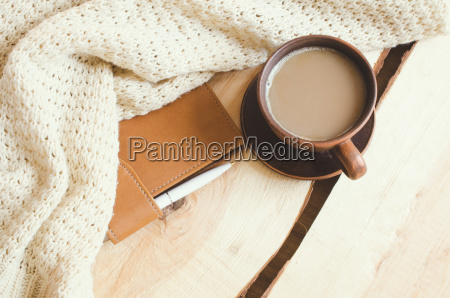 cozy winter home background cup of