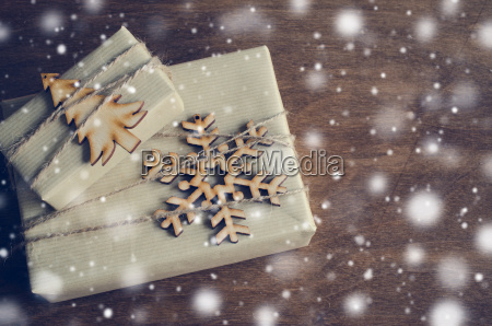 christmas kraft boxes with gifts decorated