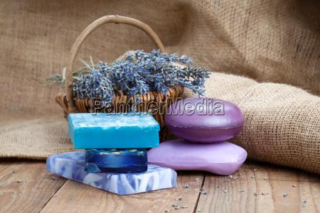 lavender handmade soap on wooden background