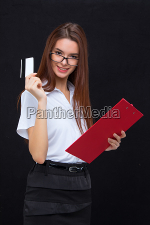 the young business woman with credit