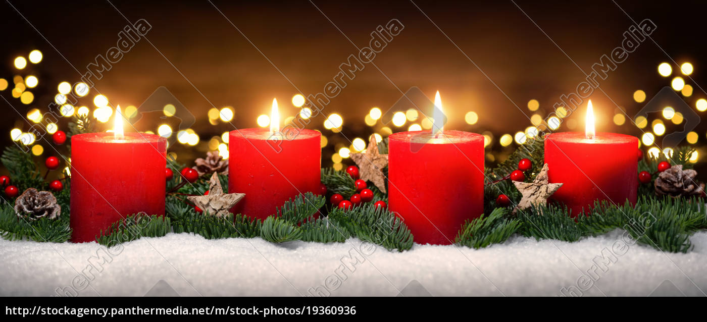 advent, decoration, with, four, candle, flames, lights, snow, fir - 19360936