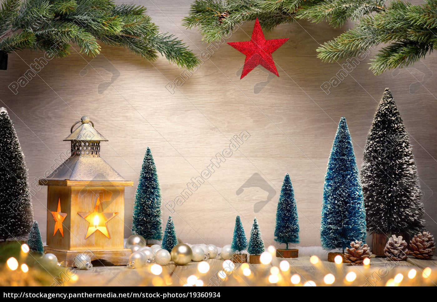 christmas, arrangement, with, lantern, trees, tree, branches, star, and - 19360934