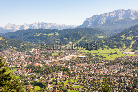 aerial view over garmisch in the