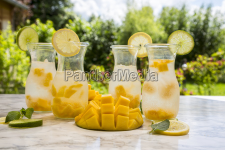fruit infused water with mango lime