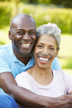 outdoor portrait of romantic mature couple