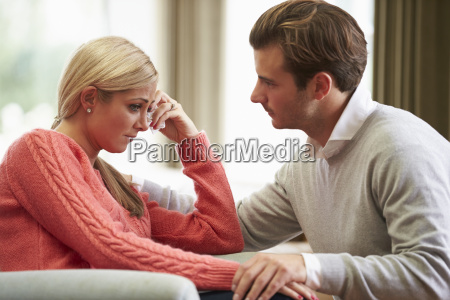 couple with woman suffering from depression