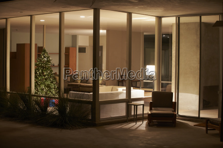 lounge decorated for christmas viewed from