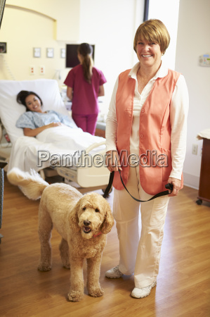 portrait of pet therapy dog visiting